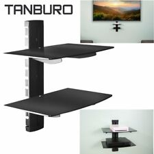 Floating 2Tier Glass Wall Mount DVD Shelf For SKY BOX TV Game Console Stand Rack