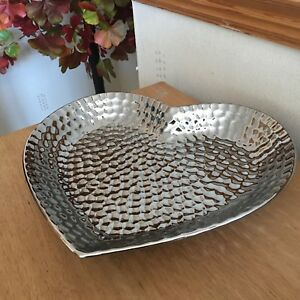 Hammered Effect Silver Heart Bowl Pot Pourri Bowl Chrome Heart Platter Tray Gift