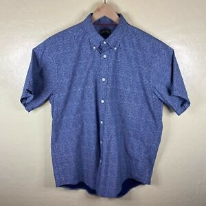Orvis Button Down Oxford Shirt Mens Large Blue White Floral Short Sleeve