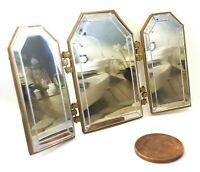 Dolls House 1/12 scale gold effect 3 way Mirror Lovingly Made by BUSHBABY