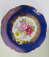 "KPM Porcelain Beautiful Floral Dresden Style - Pedestal Cake Plate - 9.25"""