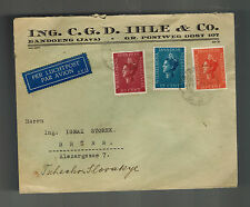 1938 Netherlands indies airmail cover to Brunn Czechoslovakia CGD Ihle