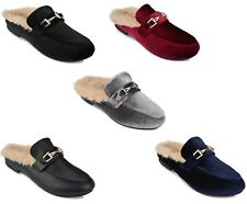 """NEW Womens Ladies Mule Loafers Open Back Shoes With Faux Fur Lining"""" princetown"""""""