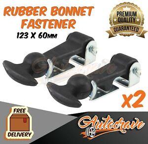 2x RUBBER BONNET HOOKS STRAPS CATCH RACE PROTECTOR SAFETY BOOT KIT CAR TRUCK RV