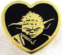 Star Wars Yoda Gold Heart Shaped Pin 1 inch