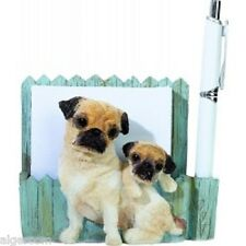 Tan (Fawn) Pug & Puppy Magnetic Note Holder Gift Box NEW