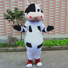 Cow Mascot Costume Cosplay Halloween Animal Parade Party Dress Outfit Adult Suit
