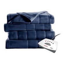 Sunbeam Electric Heat Blanket Heated Fleece Warming Twin BLUE