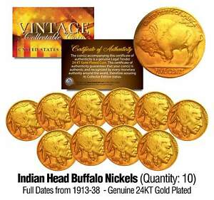 Lot of 10 Full Date BUFFALO NICKELS US Coins Gold Plated Indian Head -Best Value