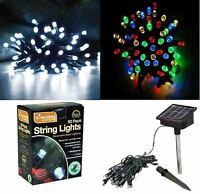 NEW 50 LED STRING LIGHTS KINGFISHER SOLAR LED WARM WHITE/MULTI COLOURED PARTIES