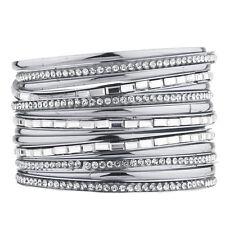 Lux Accessories Silver Tone Pave and Baguette Stone Bangle Bracelet Set (??PCS)