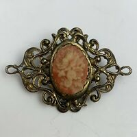 Vintage Art Nouveau Style Floral Cameo Look Brooch Pin Filigree Open Work Bar
