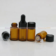 1ml 2ml 3ml Amber Glass Dram Bottles Orifice Reducer with Dropper Essential Oil