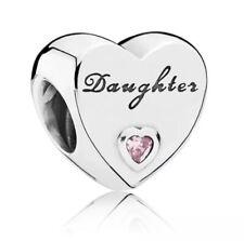 GENUINE PANDORA SILVER DAUGHTER HEART CHARM & PANDORA POUCH (791726PCZ)