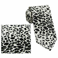 New Vesuvio Napoli Polyester Men's Neck Tie & hankie set leopard print white