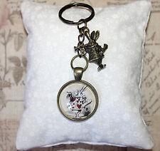 Alice in Wonderland bronze keyring white rabbit & glass illustration charms