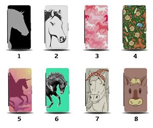 Horse Flip Wallet Case Horses Face Pony Ponies Stallion Galloping Pink 8031