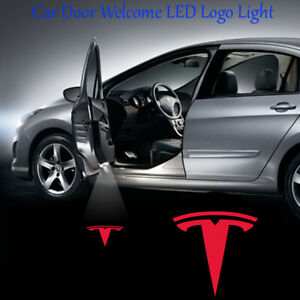2x Tesla Logo Ghost Shadow Car Door LED Projector Lights for Model 3 S X