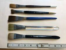 5 flat wash watercolor artists' brushes incl. Winsor & Newton/Grumbacher/Morilla
