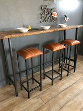 Our New Design Tan Leather Bar Stool/ Industrial Leather Kitchen Stool 79cm high
