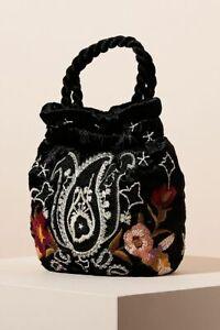 Johnny Was Small Wendy Pouch Velvet Handbag Black Embroidery Flower bag New
