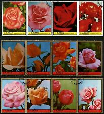 Ajman 1972 Flowers x 12 Large Stamps Cto Used #V5701