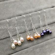3 Pairs 7-8mm White Pink Black Freshwater Pearl Dangle Silver Hook Earrings