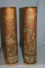 militaria paire d'étuis vases décorés cigognes d'alsace et ibis d'Egypte 14/18