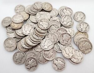 Lot of 100 $10 Face 90% Silver Mercury Dimes Coins