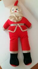 """Vintage Plush Stuffed Santa Claus Doll Red w/painted Plastic Face &Eyes 41"""" tall"""