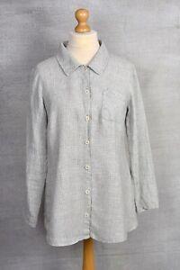 FLAX (Sahara) grey check tartan linen relaxed fit pocket painters shirt SMALL 22