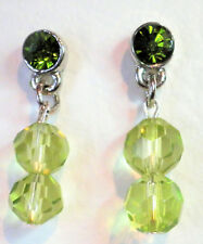 Green and silver tone bead drop earrings on studs Approx.2.75cm