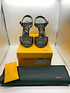 Ladies Fendi Brown Leather Wooden Wedges Size UK 4 EU 37 with Box (SG123F)