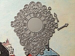 TATTERED LACE -CLOCK WITH SEPERATE HANDS DIE - MAIN CLOCK DIE IS 9 CM X .5 CM