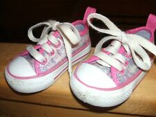 Converse All Star SHOES BABY GIRLS INFANT SIZE 3 PINK SILVER GLITTER SPARKLE