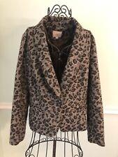 Ann Taylor Loft Large Jacquard Blazer Leopard Print Wool Blend Jacket Coat