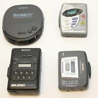 SONY WALKMAN-AIWA Lot of (3) Cassette Players & (1) CD Player AS IS- FOR PARTS