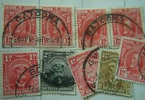 NINE EDWARD VII 7 GEORGE V SOUTHERN RHODESIA STAMPS. EARLY 20th CENTURY