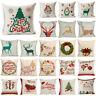 Xmas Elk Socks Pillow Case Cotton Linen Cushion Cover Merry Christmas Home Decor