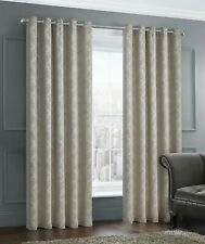 Thermal Woven Dimout Damask Curtain Pair Readymade Eyelet / Ring Top Natural