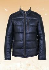 New Men's Black Genuine 100% Leather Quilted Bomber Jacket Size S-5XL