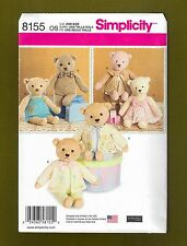 "Stuffed Bears & Clothing Sewing Patterns (21 1/2"" Tall) Simplicity 8155"