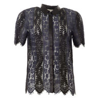 ROSEMUNDE Blouse Navy & Black Floral Lace Short Sleeve RRP £139 BG