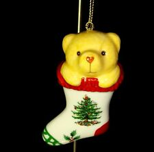Spode Christmas Tree Teddy Bear in Stocking Collectible Ornament Holiday