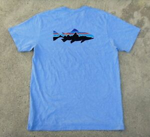 Patagonia Responsibili-Tee Fitz Roy Trout logo T-Shirt Men's L RAILROAD BLUE