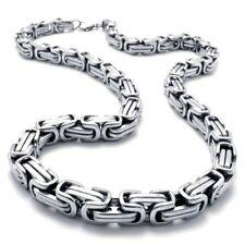 100cm x 5mm MACIZO BIZANTINO Collar Cadena Collar acero inoxidable plata