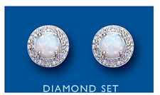 Opal Earrings Diamond Stud Solid Sterling Silver Natural Opal and Diamond Studs