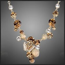 DF101 Handmade With Swarovski Crystals Dangling Butterfly Necklace Set $155