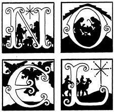 Unmounted Rubber Stamps, Nativity Stamps, Christmas, Holiday, Christian, NOEL