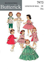 Vintage Butterick 7973 doll clothes sewing pattern - 14 inch saucy walker, etc